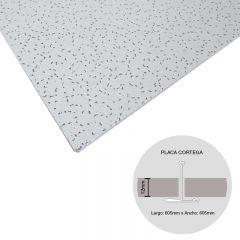 Placa cielorraso desmontable fibra mineral Cortega microperforado aleatorio blanco 12mm x 605mm x 605mm 12u x caja x 4.39m²