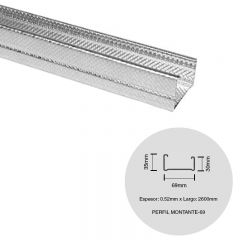 Perfil construccion seco montante 69 galvanizado 0.52mm x 69mm x 2600mm