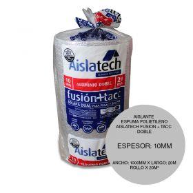 Aislante espuma polietileno Aislatech Fusion + TACC con doble film aluminio puro planitud total 10mm x 1000mm x 20m rollo x 20m²