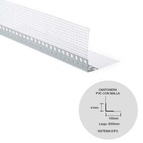 Perfil PVC L cantonera con malla fibra vidrio sistema EIFS 41mm x 41mm x 3000mm