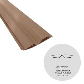 Perfil cielorraso ecoPVC H union angulo flexible nogal 6000mm