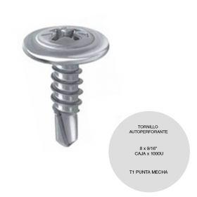 "Tornillo autorperforante T1 punta mecha 8 x 9/16"" caja x 1000u"
