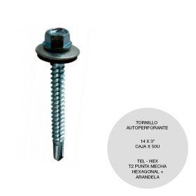 TORNILLO HEX T2 C/ARANDELA 14X3 CAJA X 50U