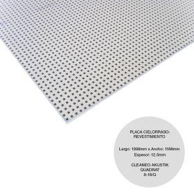Placa cielorraso / revestimiento yeso Cleaneo Akustik Quadrat 8/18Q fonoabsorbente 12.5mm x 1188mm x 1998mm