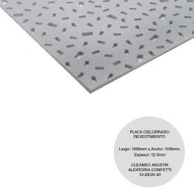 Placa cielorraso / revestimiento yeso Cleaneo Akustik Aleatoria confeti 13-28 / 20-40 fonoabsorbente 12.5mm x 1199mm x 1999mm