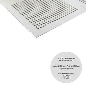 Placa cielorraso / revestimiento yeso Cleaneo Akustik Bloq B4 12/25Q fonoabsorbente 12.5mm x 1200mm x 2400mm
