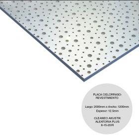 Placa cielorraso / revestimiento yeso Cleaneo Akustik Aleatoria plus 8/15/20R fonoabsorbente 12.5mm x 1200mm x 1875mm