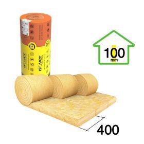 Aislante lana de vidrio Isover Acustiver R hidrorepelente 100mm x 400mm x 7500mm rollo 3u x 9m²