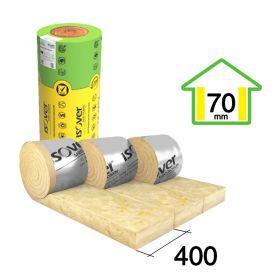 Aislante lana de vidrio fieltro Isover Rolac Plata Muro hidrorepelente 70mm x 400mm x 10m x rollo 12m²