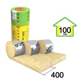 Aislante lana de vidrio fieltro Isover Rolac Plata Muro hidrorepelente 100mm x 400mm x 7000mm 3u x rollo 8.40m²