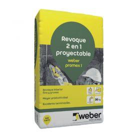 Revoque Weber Promex I 2 en 1 grueso-fino proyectable interior gris bolsa x 30kg