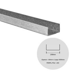 Perfil steel framing PGU 200 galvanizado 1.64mm x 200mm x 6000mm