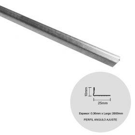 Perfil construccion seco angulo ajuste galvanizado 10mm x 25mm x 2600mm