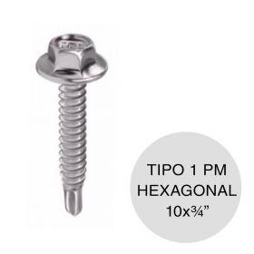 "Tornillo autoperforante Tel-Hex Tipo 1 punta mecha hexagonal 10 x ¾"" caja x 350u"